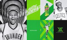 Design and branding for The Courtside Project, a partnership program between the NBA and Mountain Dew. Includes logo design, print and digital assets, and animations.
