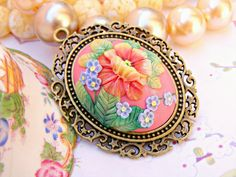 Summer Necklace Russian Folk Zhostovo Style Pendant by Sweetystuff, £45.00
