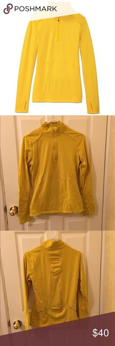 Athleta Quarter Mile Half Zip Jacket Bright yellow, reflective details, pocket and thumb holes. Worn only a handful of times. Athleta Tops Sweatshirts & Hoodies