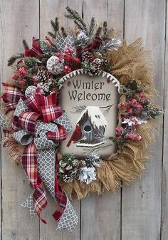 Christmas welcome Wreath, Winter Birdhouse, Red Cardinal Wreath Christmas Door Wreaths, Holiday Wreaths, Christmas Ornaments, Winter Wreaths, Christmas Projects, Holiday Crafts, Christmas Time, Christmas Centerpieces, Xmas Decorations