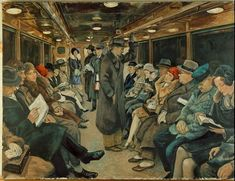 "Berlin, Unterground system.  ""In der Untergrundbahn"" (In the Underground).  Painting, Berlin, 1930, by Imre Goth (1893–1982)."