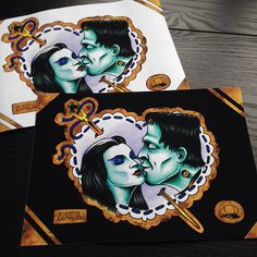 The Munsters Tattoo Flash A4 Sheet giclee print, Lily & Herman, love kiss, hot rod, universal monsters, rockabilly, vintage, limited edition by SubtitleArtwork on Etsy https://www.etsy.com/listing/227409966/the-munsters-tattoo-flash-a4-sheet