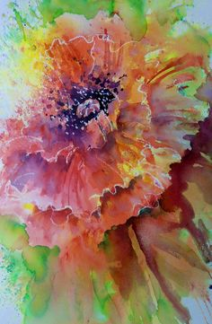 This is an image created by Joanne Thomas using a product called Brusho. It looks stunning but it's very achievable even for complete newcomers. We'll be releasing more details about Jo's Brusho lessons soon. Watercolor Poppies, Watercolor Paintings, Watercolours, Art Floral, Watercolor Techniques, Art Techniques, Art Triste, Brusho, Wow Art