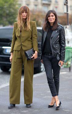 Street Style Paris Fashion Week Spring 2014  Caroline de Maigret and Emmanuelle Alt