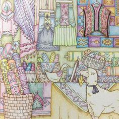 Instagram media doremi_0314 - 羊の店員さんがジョゼにお洋服を見立ててるのね〜ジョゼは何色の洋服を選ぶのかなぁ? 途中迷走したけどなんとか完成☺️✨ #ロマンティックカントリー #大人の塗り絵 #おとなのぬりえ #coloriage #coloringbook
