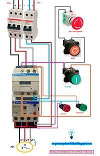 Esquemas eléctricos: Arranque y parada con paro de emergencia motor tri...