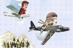 fly girls // fashion - copyright Lianne Harrison Illustration #collage www.lianneharrison.com