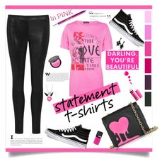 """""""Say What:Statement T-Shirts"""" by southindianmakeup1990 ❤ liked on Polyvore featuring Boohoo, J Brand, Vans, Love Moschino, Urban Decay, NYX, Topshop and Oscar de la Renta"""