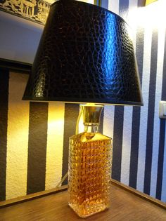 Designed by Tommy Hilbert, #Unikate, #Einzelstücke, #Lampen, #Licht, #Beleuchtung, 'Whiskey' rare crystal whiskey carafe shade crocodile brown, inside gold One of a kind