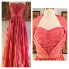 1950s Bright Coral Prom Dress--Iridescent Fabric and Matching Bolero by AwwwShucks on Etsy https://www.etsy.com/listing/151008535/1950s-bright-coral-prom-dress-iridescent