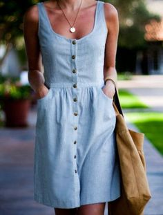 Just a Pretty Style: Street style | Button up denim dress