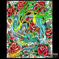 "Dragon with Roses - 16x20"" Ink Jet Giclee Art Print - SD-too Gallery - Dan Pryor - Seven Seas Tattoo Artist Print - http://shop.sd-too.com"