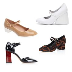 """Variations on the mary jane were rampant on the fall runway, seen in candy-colored hues at Prada and encrusted in jewels at Dolce & Gabbana. For a more subdued take on this season's """"It"""" shoe, try on a mod block-heel version from Jeffrey Campbell or a colorful leopard-print style from River Island."""