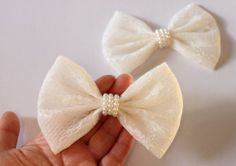 4.5 lace hair bow hairbow white lace bow fabric by TwinkleMingle, $4.49