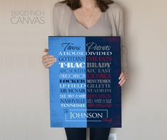 Personalized Tennessee Titans / New England Patriots House Divided Print or Canvas. Titans house divided. Patriots House Divided. Titans.