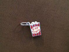 Sterling Silver and Enamel 3D Movie Popcorn Box Charm, Popcorn Pendant