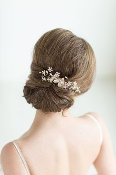 Oro novia pelo peine pedazo de cabeza de novia por PowderBlueBijoux