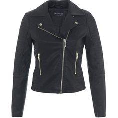 Miss Selfridge Ruby Faux Leather Biker Jacket , Black