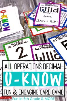 Are you looking for a fun way to review adding, subtracting, dividing and multiplying decimals? This card game similar to UNO is the perfect math activity to use to review all operating decimals! This review game is easy to learn and fun for 5th grade students to play! There will never be another boring review day in your classroom with these fun U-KNOW games! Multiplying Decimals, Operation Game, Review Games, Upper Elementary, 5th Grades, Math Centers, Math Activities, Fun Learning, Teaching Resources