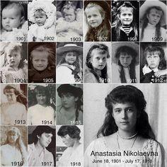 Anastasia throughout the years Tsar Nicolas, Tsar Nicholas Ii, Anastasia, Anastacia Romanov, Romanov Sisters, Familia Romanov, House Of Romanov, Russian Literature, Russian Revolution