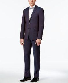 Calvin Klein Men's Extra Slim-Fit Wine Peak Lapel Suit - Purple