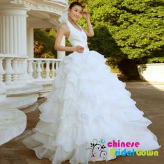 Style 2031, Graceful Organza Ball Gown Halter Chinese Wedding Dress by CBG.
