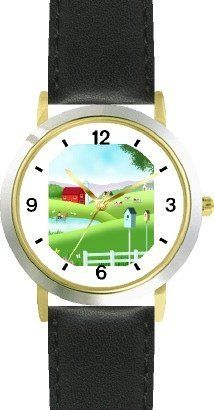 Country Farm Scene - JP - WATCHBUDDY® DELUXE TWO-TONE THEME WATCH - Arabic Numbers - Black Leather Strap-Size-Children's Size-Small ( Boy's Size & Girl's Size ) WatchBuddy. $49.95. Save 38% Off!