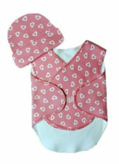 Gift for Preemie Baby, NICU or Surgery recovery - opens in the front. Snuggler wrap gift set: pink hearts.