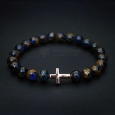 Cross Charm Bracelet, Stretch bracelet, Unisex Jewelry for Christians, Rose Gold Cross, Annekoru, Armband, Eskumuturreko, Christmas Gift by JuniperandEloise on Etsy