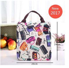 ファッション新鮮なポータブル断熱キャンバスランチバッグ弁当収納袋熱食品ピクニックランチポーチ用女性子供クーラー