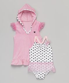 This Baby Buns Pink Heart One-Piece & Cover-Up - Infant, Toddler & Girls by  is perfect! #zulilyfinds