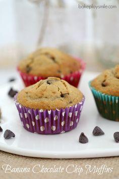 Banana Chocolate Chip Muffins - Bake Play Smile