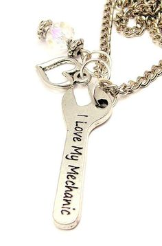 I Love My Mechanic Wrench Necklace  with crystal by CorsoStudio, $15.99
