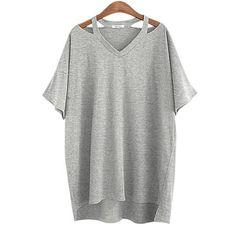 Summer Plus size XL- 5XL Cotton Off Shoulder Women T-shirt V Neck Tee