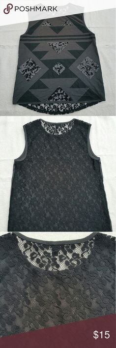 XS Express sequin muscle tank tee Worn once, excellent condition, no flaws! **Front: Grey and black sequin Aztec print! **Back: Beautiful black lace Express Tops Muscle Tees