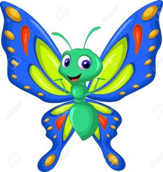 Illustration of Cute butterfly cartoon waving vector art, clipart and stock vectors. Illustration Papillon, Butterfly Illustration, Butterfly Life Cycle, Cute Butterfly, Butterfly Cartoon Images, Free Cartoon Images, Hand Crafts For Kids, Beautiful Fantasy Art, Free Cartoons