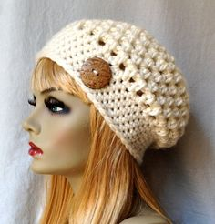 SALE Crochet Slouchy Beret, Womens Hat, Off White Cream, Pick Your Color, Soft, Chunky, Warm, Teens, Birthday Gifts for Her JE505BTBU4
