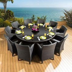 The dining set consists of a round black glass topped table and 10 wide, comfortable armchairs / carvers. Made from fully weatherproof PE rattan, hand woven over a rust resistant frame. This maintenance free table is designed to be left outside all year round without the need for covering. The frame is made from 1.2 mm thick aluminium tube with grey powder coating applied after welding. It is UV light resistant to ensure that the coloured rattan does not fade in the sunlight.