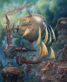 Jaroslav Jasnikowski (Poland), is one of the most prolific artists of Fantastic Realism in Poland. His spectacular images play with the laws of physics, architecture, vehicles. He was born in Steampunk Kunst, Steampunk Airship, Magic Realism, Surrealism Painting, Fantasy Setting, Retro Futuristic, Visionary Art, Fantastic Art, Color Of Life