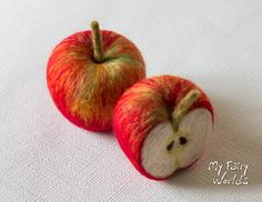 Needle Felted Apples. Set of one and a half. Life Size. Nature Table. Ready to Ship. Play Food. by MyFairyWorlds on Etsy