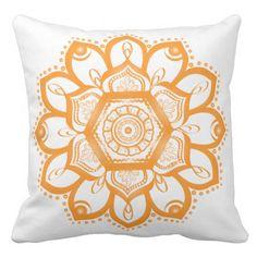 Orange Mandala Throw Pillow by My Shattered Sky on Zazzle