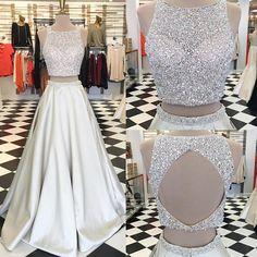 Sparkle Two Piece A-Line Ivory Prom Dress - Crew Sleeveless Floor-Length Beading