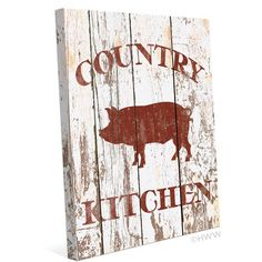 Distressed Wood Textured Red Country Kitchen Pig Kitchen Sign Canvas Art Print Wall Décor Artwork is printed on real canvas and then stretched over a wooden frame for a classic gallery look. Pig Kitchen Decor, Kitchen Signs, Kitchen Ideas, Bbq Kitchen, Kitchen Layout, Kitchen Stuff, Canvas Art Prints, Painting Prints, Canvas Wall Art