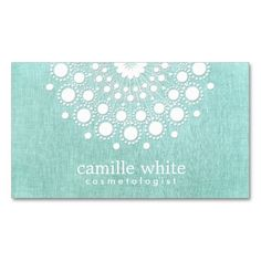 Cosmetology Pretty Circle Motif Light Aqua Blue Business Cards. I love this design! It is available for customization or ready to buy as is. All you need is to add your business info to this template then place the order. It will ship within 24 hours. Just click the image to make your own!