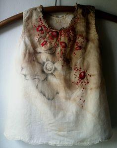 """J.L.L 1885-1920"" Hand embroidery, drawing, walnut ink on antique dress. Artist - Erin Endicott"
