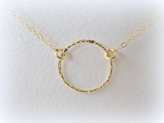 Karma necklace, gold circle necklace,  gold eternity necklace, small circle necklace, ring necklace
