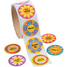 Garden of Good Manners Stickers, 100 Stickers per roll - Dot NZ Shop