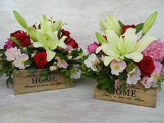 #lilies #red #roses #savage #pink #roses #wood #box; #crini #bujori #trandafiri #rosu #roz #lemn #cutie Wedding Bride, Wedding Flowers, Lilies, Savage, Pink Roses, Floral Arrangements, Brides, Floral Wreath, Wreaths