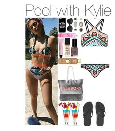 """""""Pool with Kylie"""" by xhoneymoonavenuex ❤ liked on Polyvore featuring Seafolly, Havaianas, Billabong, Bobbi Brown Cosmetics, H&M, NARS Cosmetics, Sun Bum, Casetify and Topshop"""