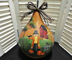 folk art gourds | ... Folk Art Primitive Autumn Fall Scarecrow Sunflower Pumpkin Gourd Painted Gourds, Painted Rocks, Hand Painted, Primitive Autumn, Fall Scarecrows, Gourd Crafts, Fall Decor, Holiday Decor, Lightbulbs